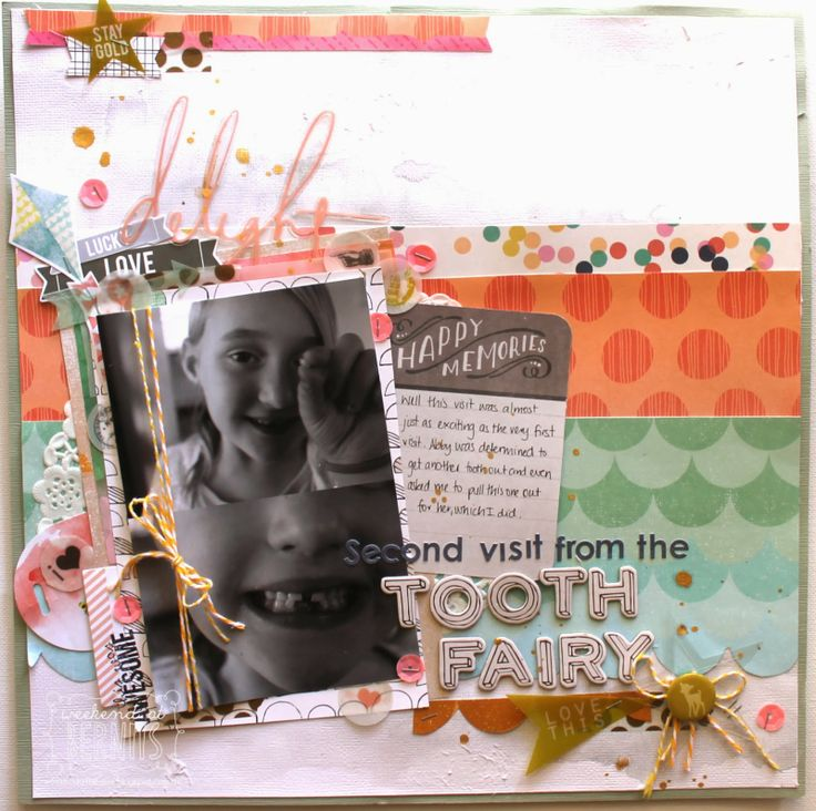 Second visit from the Tooth Fairy - layout by DT Bernii Miller using Polly! January 2014 Almond Biscotti scrap kit