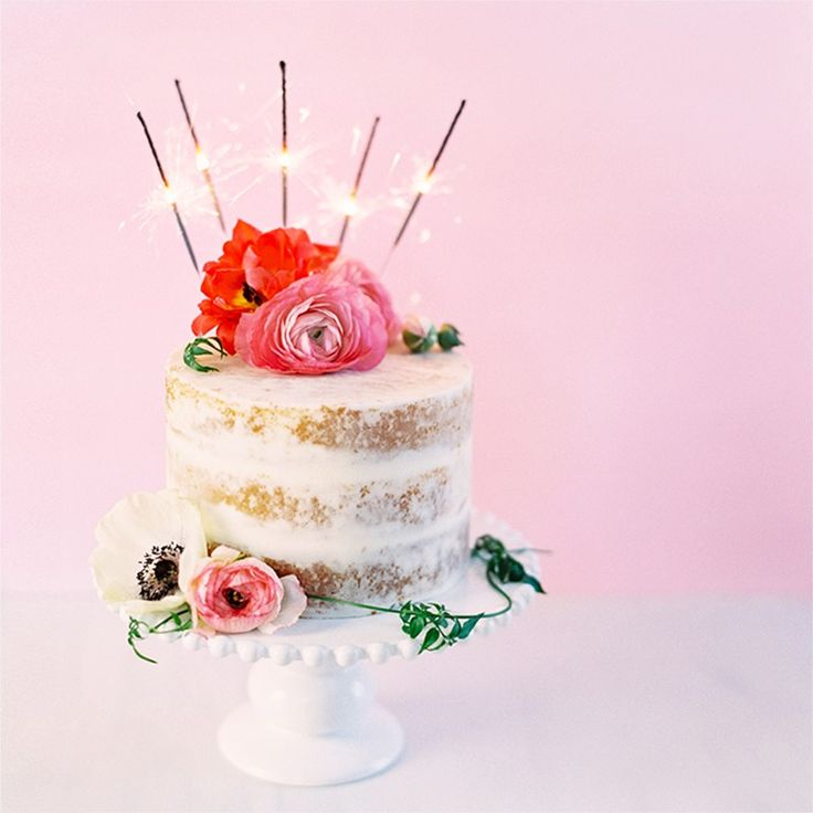 Naked Cake with Sparklers and Pink Flowers   My 1st Blogiversary + 10 Things I Learned in my First Year of Blogging // JustineCelina.com