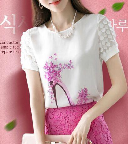 Aliexpress.com: Compre Nova 2016 de alta qualidade de impressão camisas Plus size manga curta Diamonds Blusas camisas Casual Chiffon flor Blusas 89J 56 de confiança gravata camisa fornecedores em Jac DG