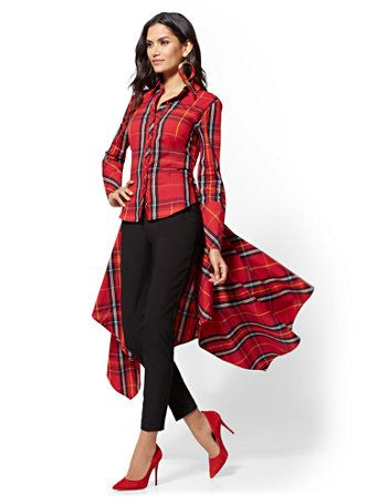 0e61d448f28ba Shop Red Tartan Hi-Lo Handkerchief Hem Shirt . Find your perfect size  online at the best price at New York   Company.