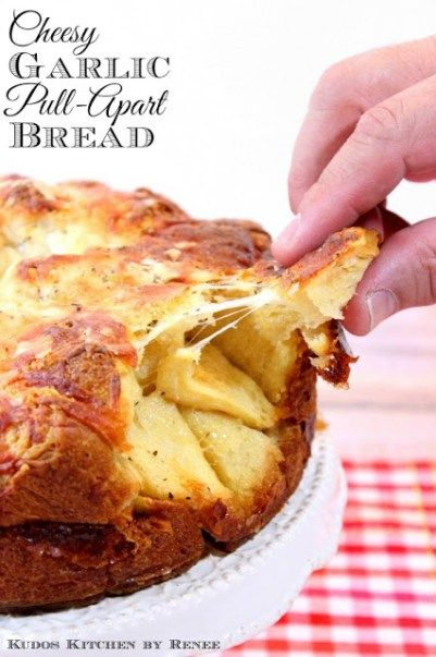 Easy Cheesy Garlic Pull-Apart Bread bakes in a springform pan which makes for a very delicious presentation. - Kudos Kitchen by Renee - www.kudoskitchenbyrenee.com