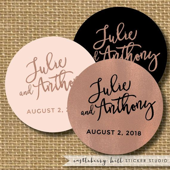 Copper and black wedding sticker, black and copper wedding favor, rose gold sticker, favor label,  bridal shower stickers, copper stickers