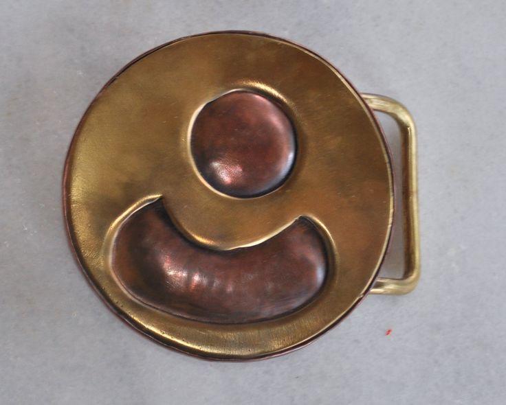 Handmade belt buckle in brass and copper by TakisBrass on Etsy