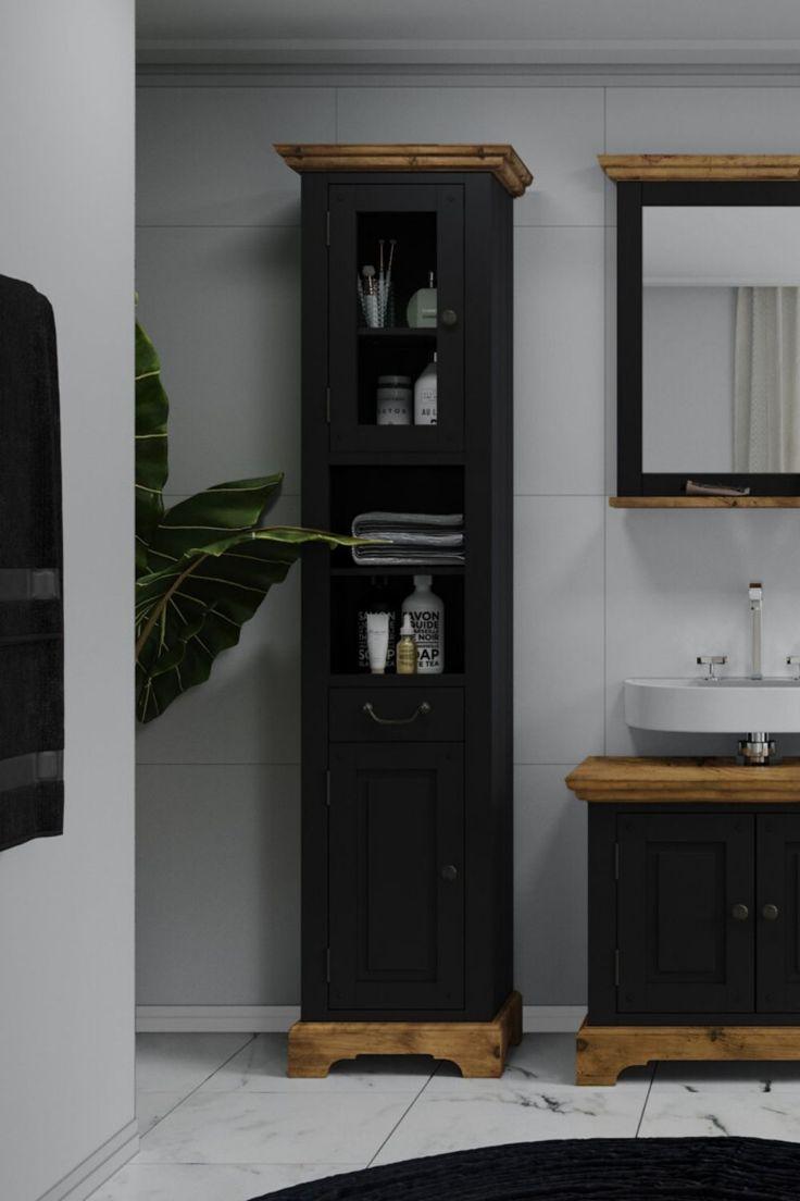 Bad Hochschrank Kenia Schwarz In 2020 Hochschrank Schrank Badezimmer Einrichtung