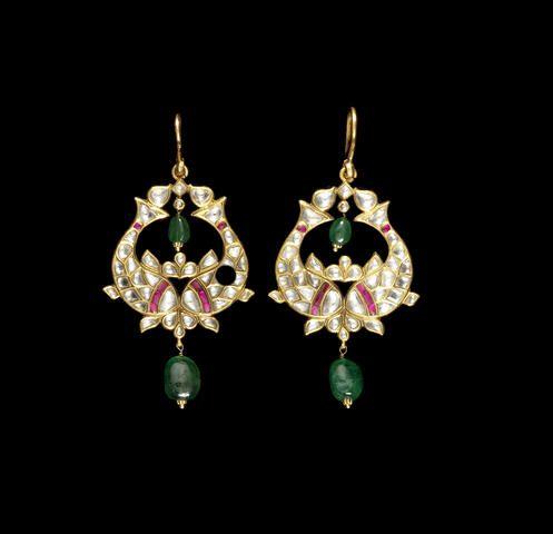 A pair of Indian gem-set pendent Earrings (2)