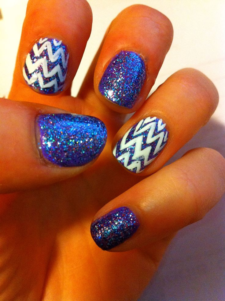 Blue glitter | See more nail designs at http://www.nailsss.com/french-nails/2/