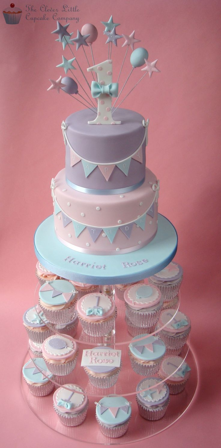 First Birthday Cupcake Tower - Pretty Pastel Cupcakes For A Little Girl -8155