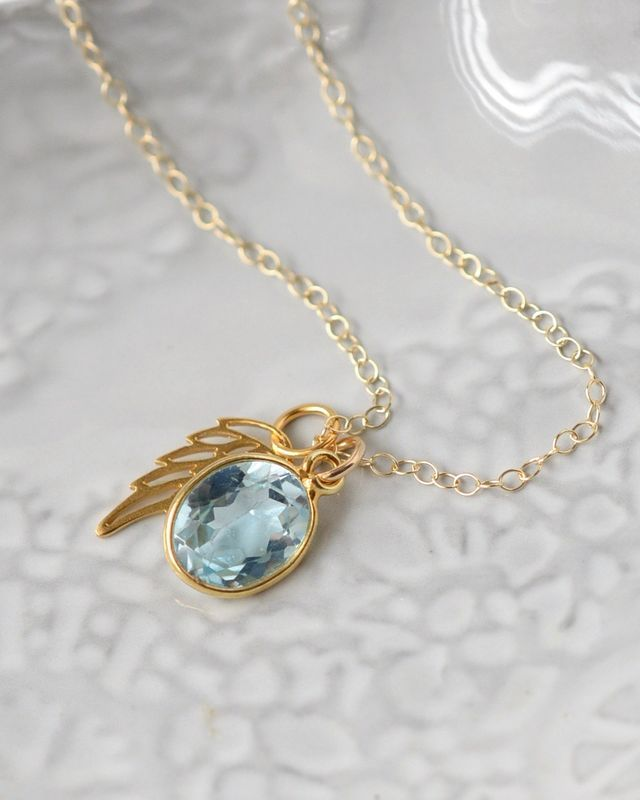 113 best rip baby images on pinterest awareness ribbons angel baby memorial necklace with gold angel wing and decembers birthstone blue topaz understated jewelry aloadofball Choice Image