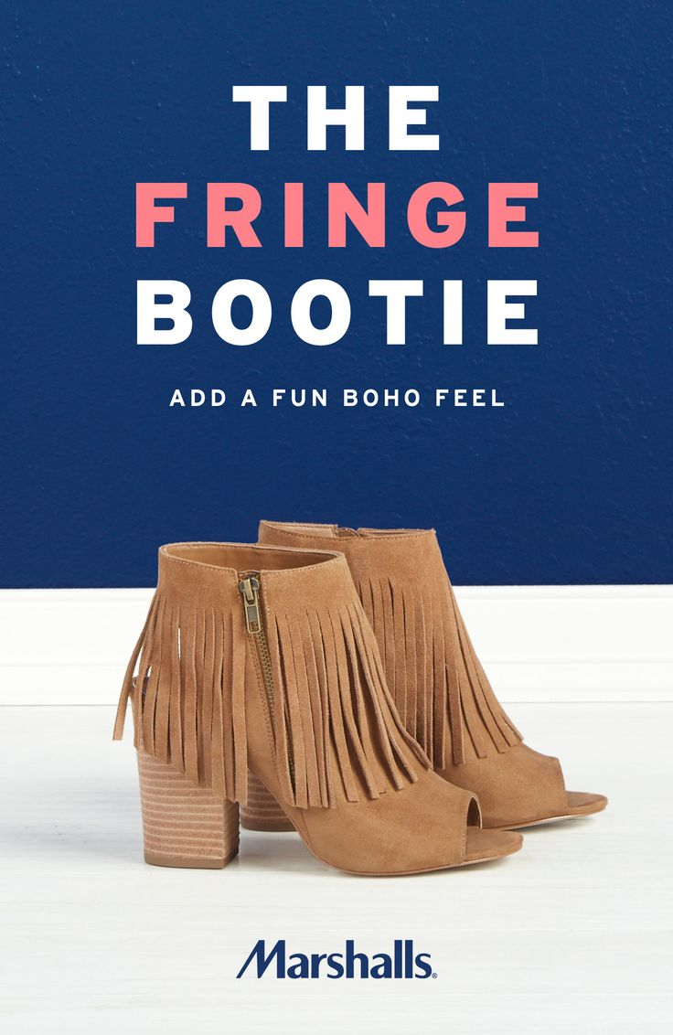 Not your everyday booties! Put a little fun in your closet with these caramel suede booties. Can't-miss fringe details add an instant boho feel. The zippered accents, open toe and chunky heel update any look. Visit Marshalls today to find your new favorite booties!