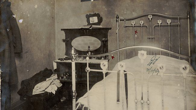 Leslie 'Squizzy' Taylor dies in gunfight in this room with Snowy Cutmore after dominating Melbourne's underworld in the 1920s