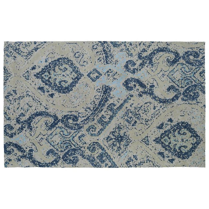 Kaleen Cozy Toes Transitions Damask Rug, Blue