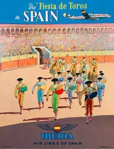 Fiesta de toros Spain | Vintage travel poster | Europe / Bullfighting  Bullfighters in the Ring