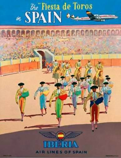 Fiesta de toros Spain | Vintage travels posters | European travel  #Affiches #Retro #Europe #deFharo #Carteles #Viajes #España