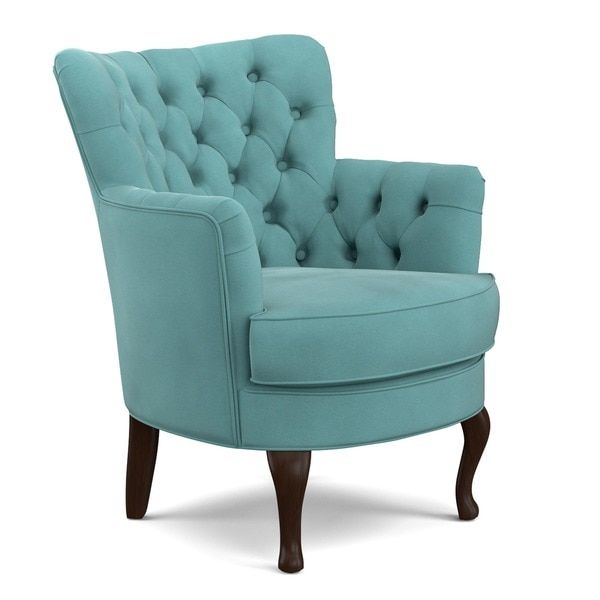 Handy Living Priscilla Turquoise Blue Velvet Petite Arm Chair
