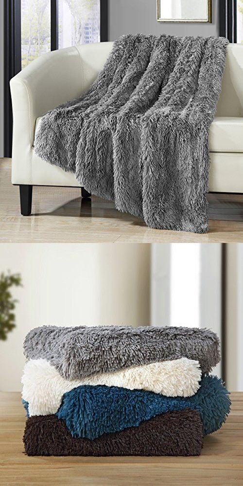 chic home 1 piece anchorage shaggy faux fur supersoft ultra plush decorative throw blanket 50 x 60 - Decorative Throw Blankets