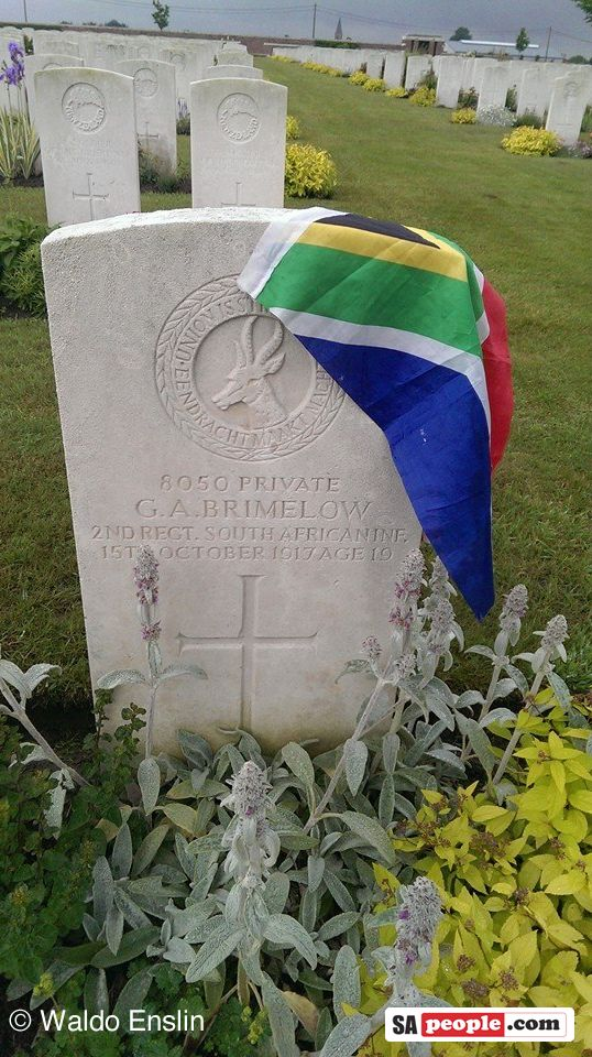 "grave-france the grave of a 19-year-old South African soldier. Private GA Brimelow, taken by Waldo Enslin… ""I found this grave in France – one of quite a few from World War I…so sad,"" says Waldo. ""In this particular grave site, near the town of Somme, there were about eight South African graves. There are grave yards scattered all over – when you enter, you will usually find a brass door in a wall with a folder in that has all the nationalities and plot numb"