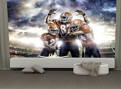 American Football Game Players  WALL DECOR Mural Photo Wallpaper free Paste