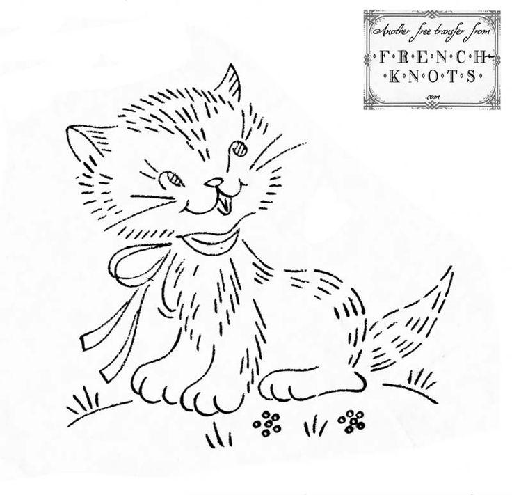 free Darling Kitten Embroidery Transfer Pattern