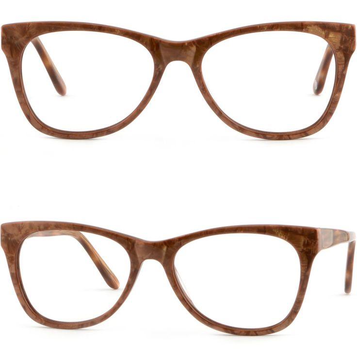Men Women Acetate Plastic Frame Spring Loaded Hinges Prescription Glasses Brown #Unbranded