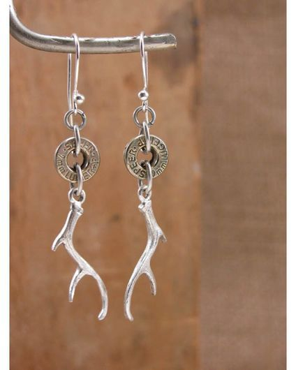 Bullet Casing & Deer Antler Charm Silver Dangle Earrings,
