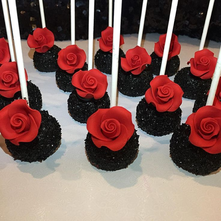 Gorgeous in Black Cake pops with a beautiful red rose!
