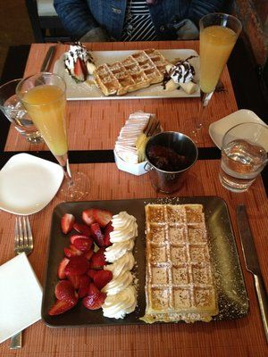 waffles and mimosas from Belga Cafe in Washington DC