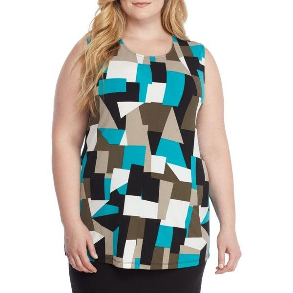 Kasper  Plus Size Printed Tank ($44) ❤ liked on Polyvore featuring plus size women's fashion, plus size clothing, plus size tops, opal multi, plus size, plus size tank tops, plus size tanks, mixed print top, pattern tank top and print tank top