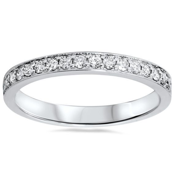 1/3Ct Diamond Wedding Ring Stackable Womens Band Anniversary Round Prong 14K White Gold Size 4-9