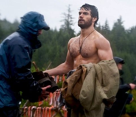 Henry Cavill on set as Superman (get a gander at THIS guy!)