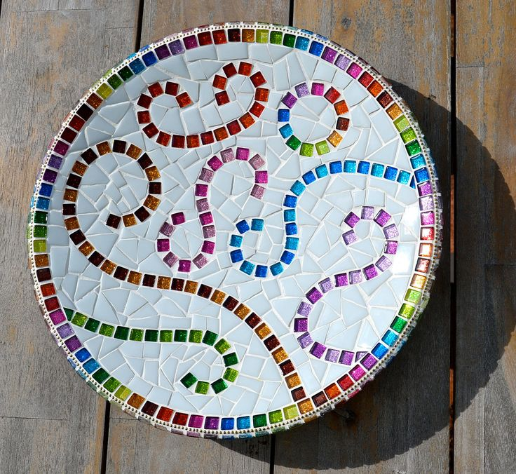 This is different - i like it! Rainbow mosaic dish sparkling glass. $70.00, via Etsy.