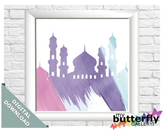 "Water Colour Mosque Silhouette - Instant Digital Download - Printable Islamic Art 5x5"" by MyButterflyGallery on Etsy"