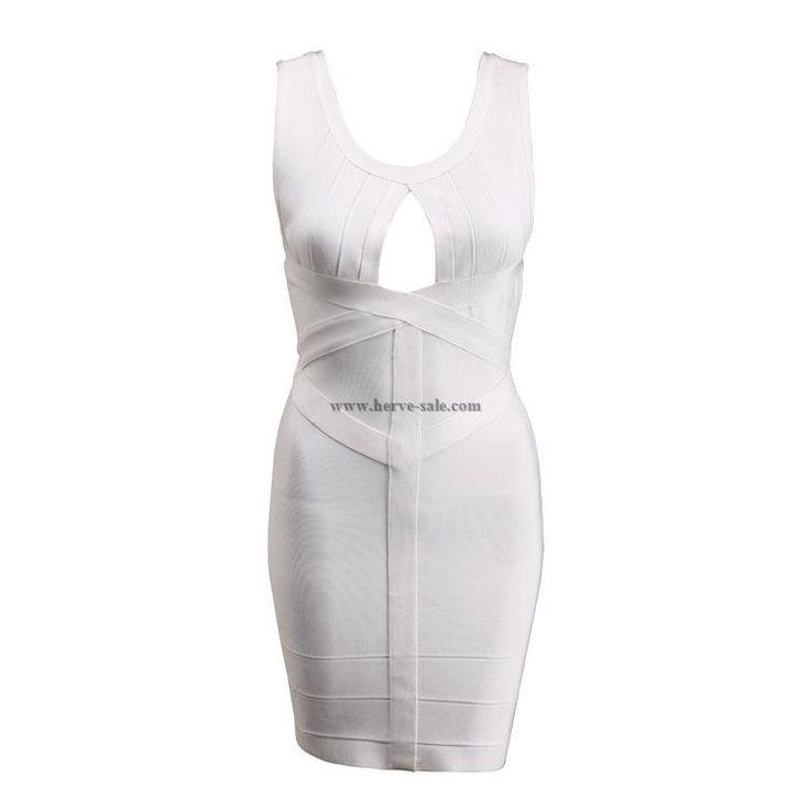 Herve Leger White Keyhole Sexy Bandage Dress H095LW
