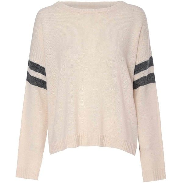 Cream Knit Stripe Jumper ($46) ❤ liked on Polyvore featuring tops, sweaters, cream, long sleeve knit sweater, stripe sweater, pink sweater, knit tops i button down sweater