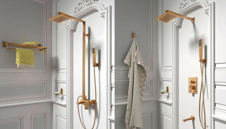 Zlaté sprchy, retro sprchy, sprchy gold - http://www.water-fall.cz/cz/koupelnove-baterie-luxusni-kuchynske/sprchove-panely-luxusni-led-hlavice-sprchy/