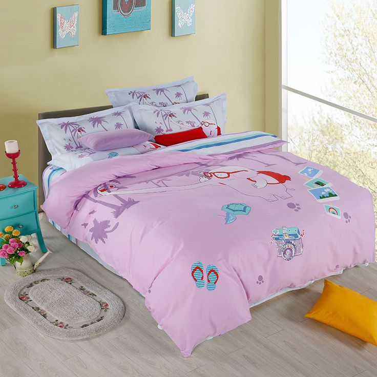 2017 Cotton Set Bedding Elephant 's travel Bed duvet cover linens 4-pcs/set Home Breathable kids bedding sets jogo de cama casal #Affiliate
