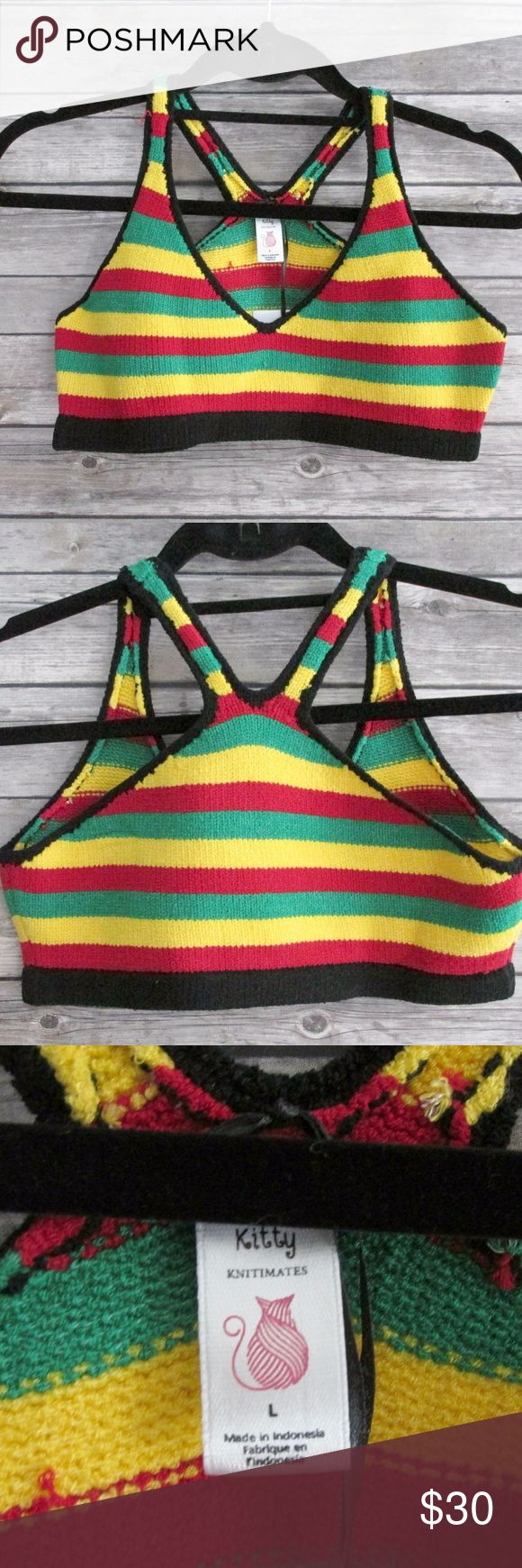 Dolls Kill Jamaica Rasta Knit Sweater Bralette Knit bralette with colorful stripes and black contrast border. The bralette is very soft. It feels and looks almost like Terry Cloth in my opinion. Great for festivals.  Condition: NWT Type: Bra Style: Bralette Size: L Brand: Knitty Kitty for Dolls Kill Color: Black, Green, Yellow, Red Materials: 85% Acrylic, 10% Nylon, 5% Spandex  DD0.8:201711110734:5:78K Dolls Kill Intimates & Sleepwear Bras