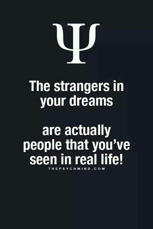 Well that's not true.. The strangers in my dreams appears after many days n even years. I never forgets my dreams... N hence I comes to know that yeah this is the man I saw five years ago in a dream.... That's so confusing..
