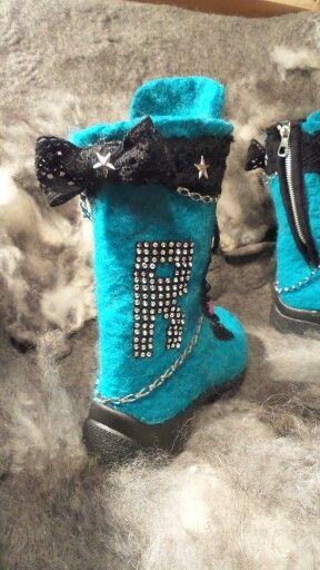 Handmade ooak Felt boots for winter by Made in Nummila