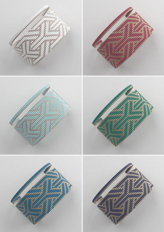 Loom bracelet sample, loom sample, miyuki sample, sq. sew sample, pdf file, pdf sample, cuff #56BIJU