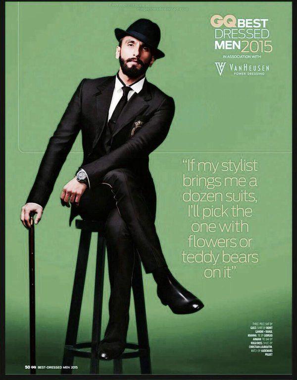 Ranveer Singh  #GQIndia #BestDressedMen2015  #Hot #Obsession #Fashion #Style…