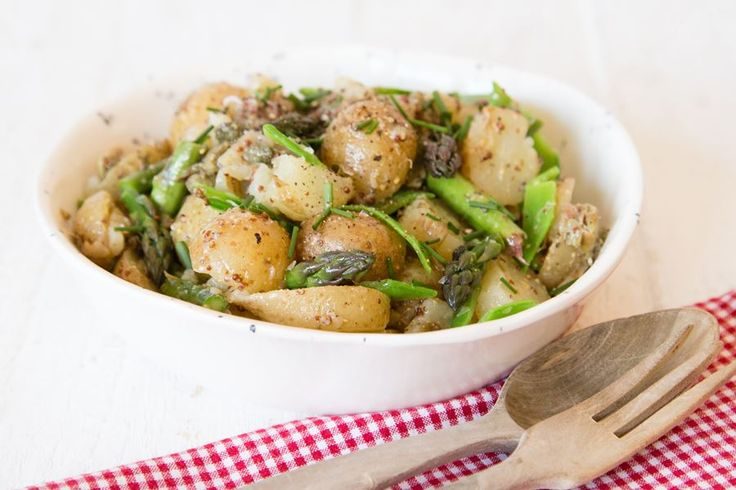 Smashed new potato, asparagus & pea salad