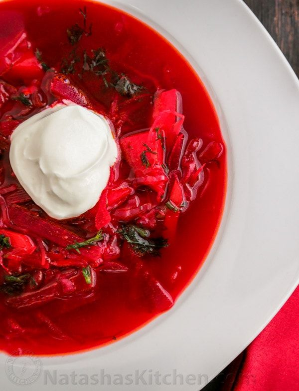 This is a classic Ukrainian Borscht recipe, just like mom used to make. I love the deep ruby color of this borsch! It's so healthy and nutritious.