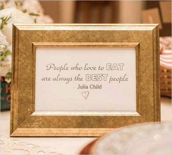Julia Child quote in gold frame at cooking themed shower