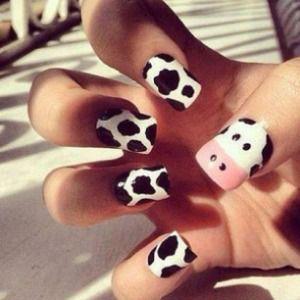 Cute cow nail design