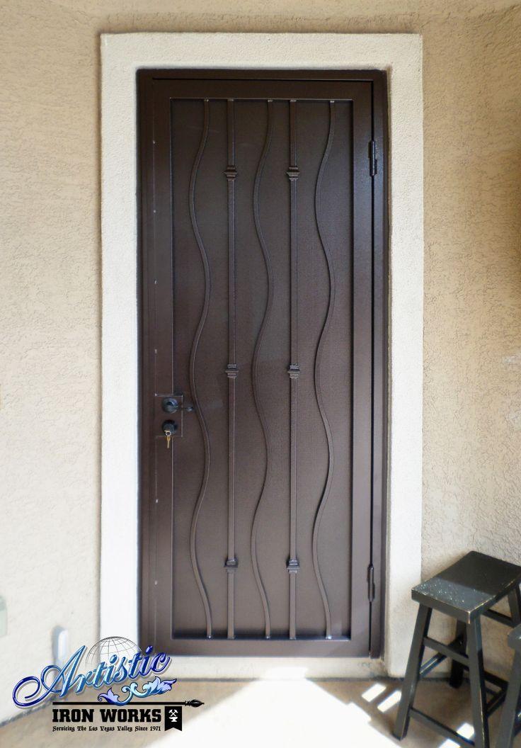 Wimbi wrought iron security screen door model sd0171 for Wrought iron security doors