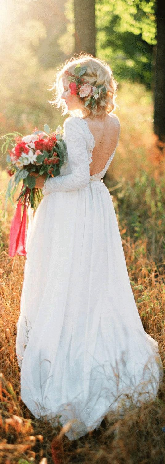 US$132.94-Beautiful Lace and Chiffon Wedding Dress With Sleeves. and Open Back.  http://www.doriswedding.com/long-sleeve-lace-and-chiffon-dress-with-bateau-neck-pET_711221.html.  Free custom made service of any dress design & Free Shipping! Browse the complete selection of unique design wedding dresses, each featuring the latest design with careful attention to detail and amazing quality, fit to finish. #DorisWedding.com