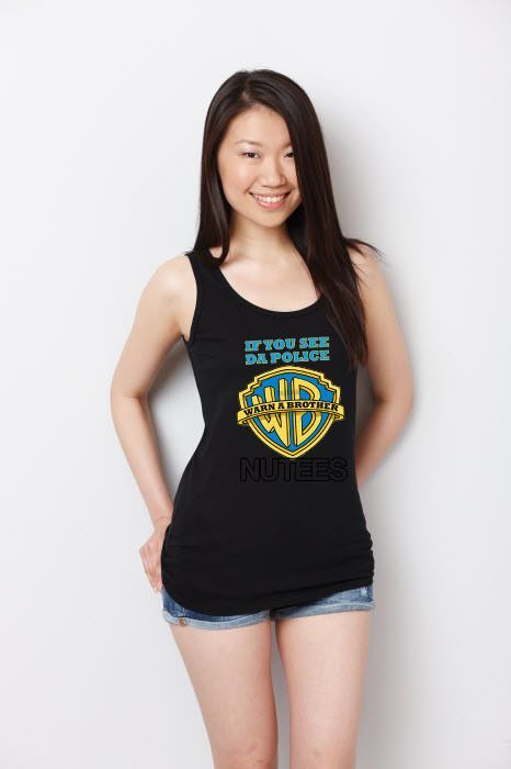 If You See Da Police Warn A Brother Hip Hop Lady Tank Top Vest S-Xxl