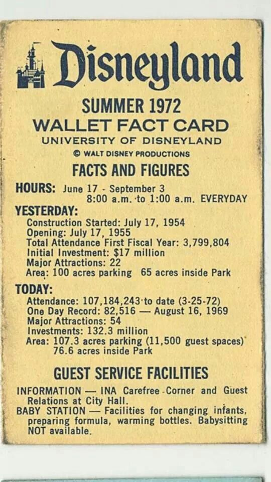 vintage disneyland wallet fact card c.1972 -