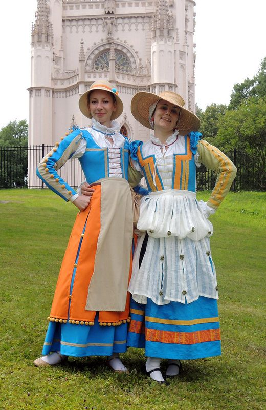 Reproductions of late 16th century Italian clothing for a fair. From period sketches.
