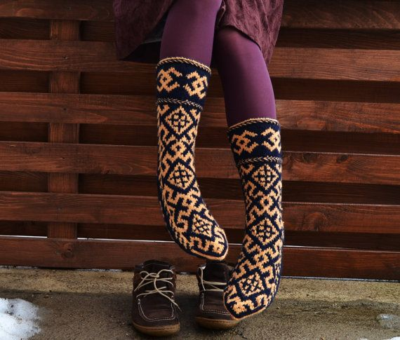 Knitting Pattern Thick Wool Socks : Hand knit very thick warm wool socks traditional pattern long womens ladies k...